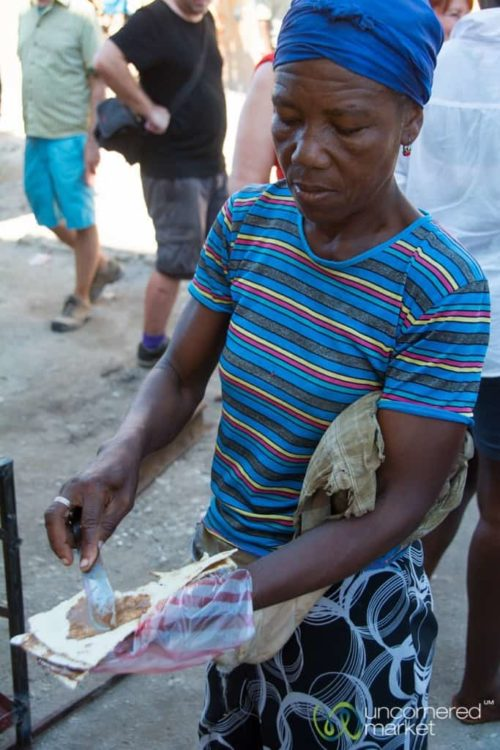 Haitian Food, Cassava Bread with Peanut Butter