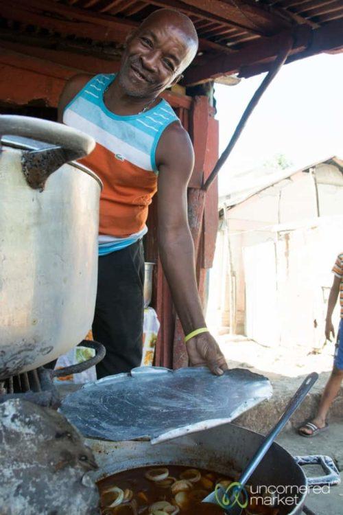 Haitian Food, vegetable stew in Jacmel