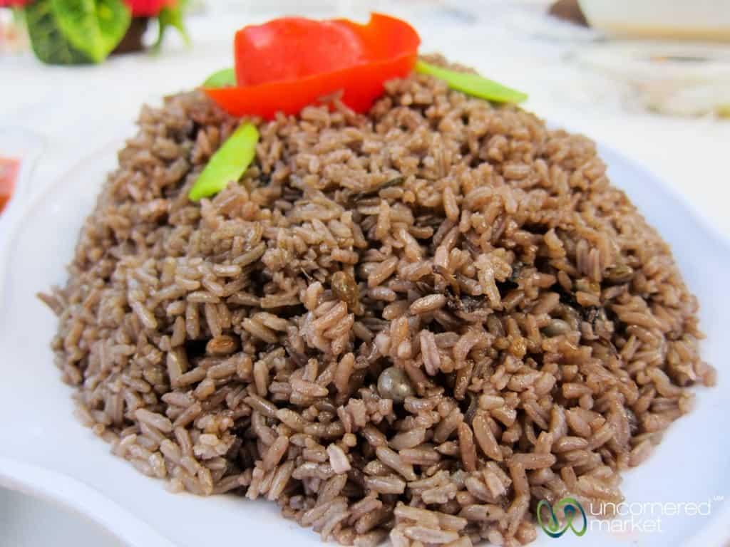 Haitian Food, Rice with Black Mushrooms