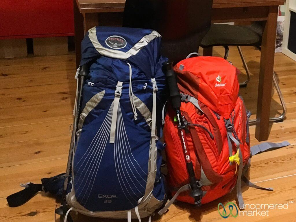 Camino packing backpacks