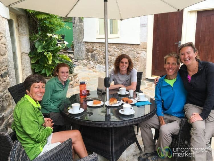 Taking a coffee break along the Camino.