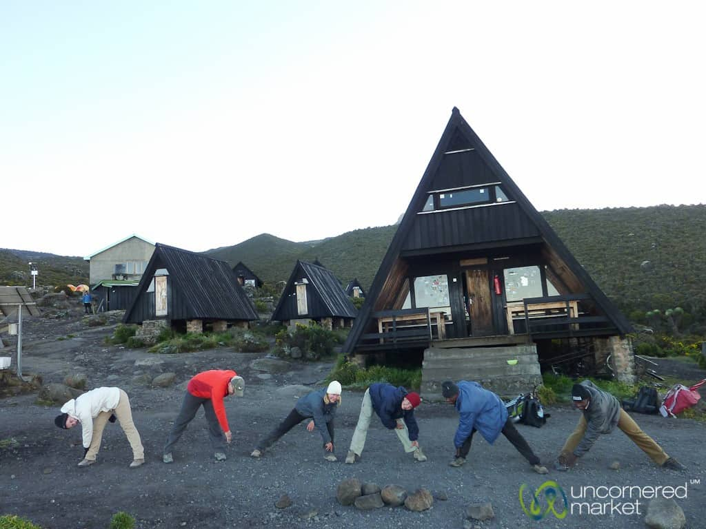 Climbing Kilimanjaro, Stretching at Horombo Hut
