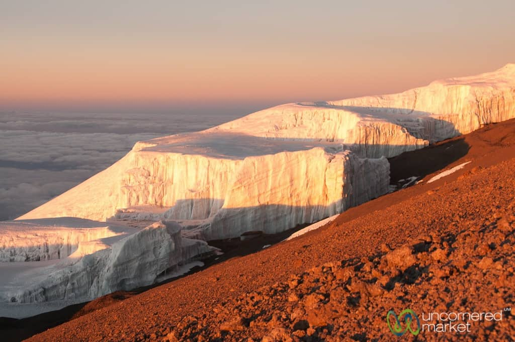 Climbing Kilimanjaro, Glaciers at the top at sunrise
