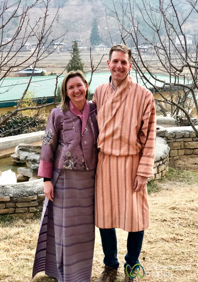 We clean up rather well in Bhutanese traditional dress.